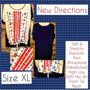 New Directions Top Size XL Stars Stripe High Low